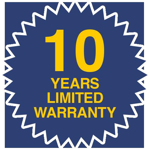 10 years limited warranty
